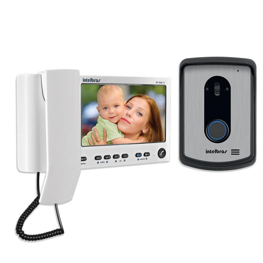 Kit Video Porteiro Intefone Intelbras Iv 7010 HS Branco + Módulo Interno Intelbras Iv 7000