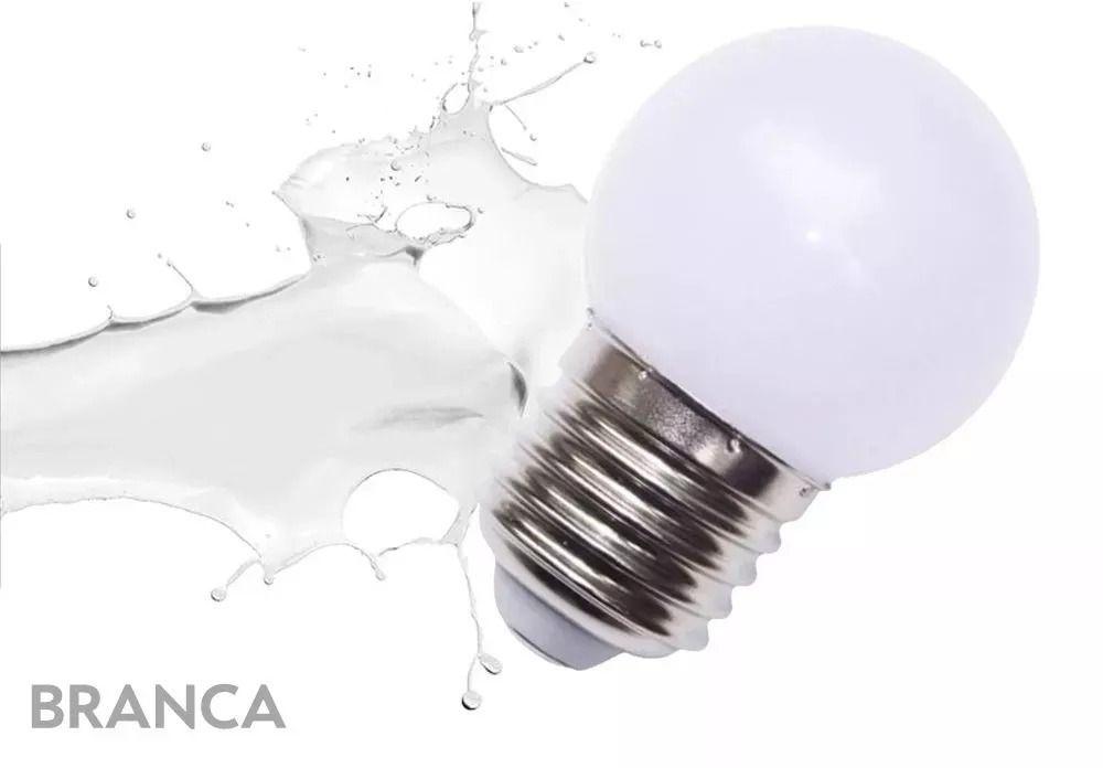 10 LÂMPADA LED MODELO BOLINHA LED 1W  E27 1w Branco frio