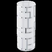 Abajur vidro branco detalhes cromados 1 X 40W E27