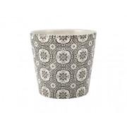 Cachepot Preto e Branco em Cerâmica