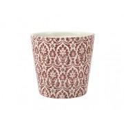 Cachepot Branco e Vermelho em Cerâmica