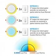 Luminária Redonda De Sobrepor Downlight 3 Estágios Led 12+6W