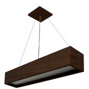 Pendente de Madeira Wood Retangular T8 36W 124cm 1 ou 2 luz