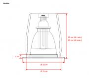 Plafon. de Embutido ø178mm x h regulável-1 luz E27-c/Vidro fosco (80%) + Aro Branco