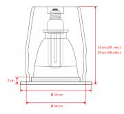 Plafon. de Embutido ø145mm x h regulável-1 luz E27-c/Vidro fosco (80%) + Aro Branco