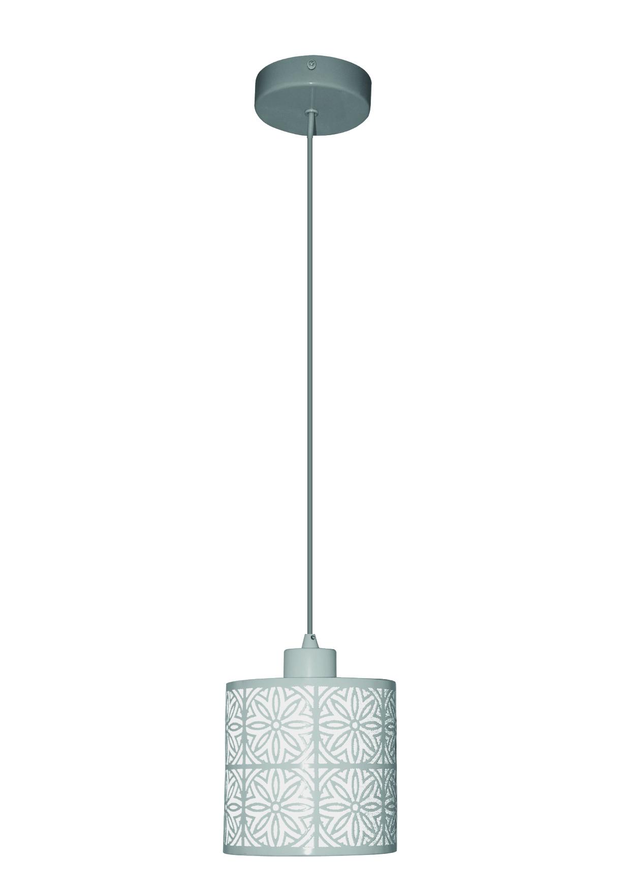 Pendente Vitral 1XE27 Canopla em aço + metal branca Cúpula em PVC branca