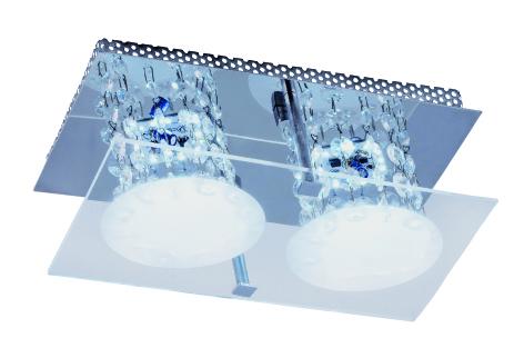 Plafon Glacial Cristal LED 2x10W 127V 150x250mm e Cristais