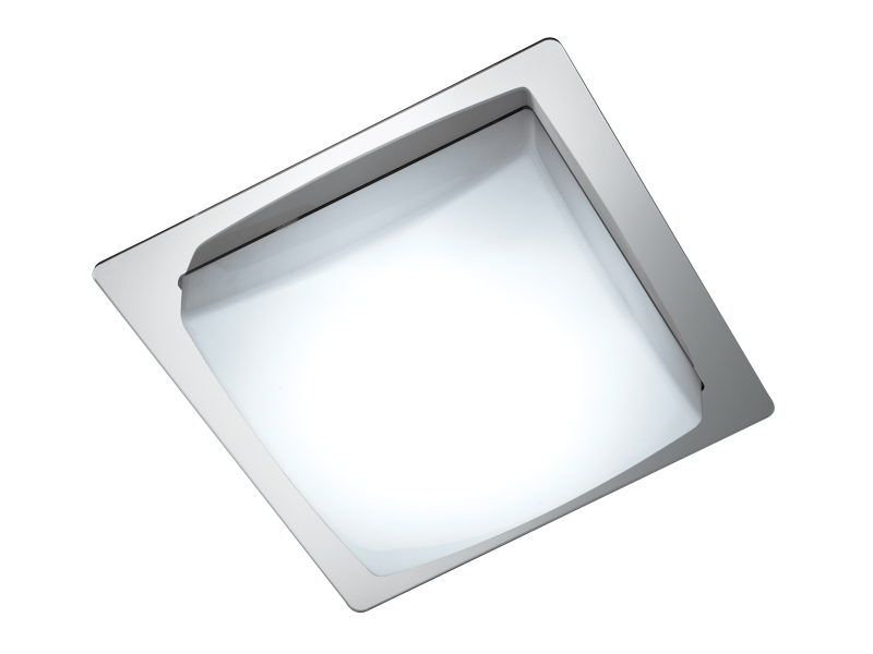 Pf. VENUS LED 10W 220V 6400K c/ Difusor em Acrílico Quadrado e Aro em Acrílico Espelhado Qd. 35,5x35,5cm