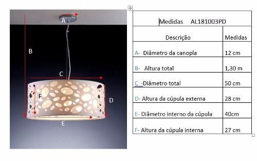 Lustre Pendente 3 luzes E27 para sala Bronzeart Rotterdam 50cm