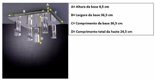 Lustre Pêndulo de Cristal 5 Luzes 127v Bronzearte