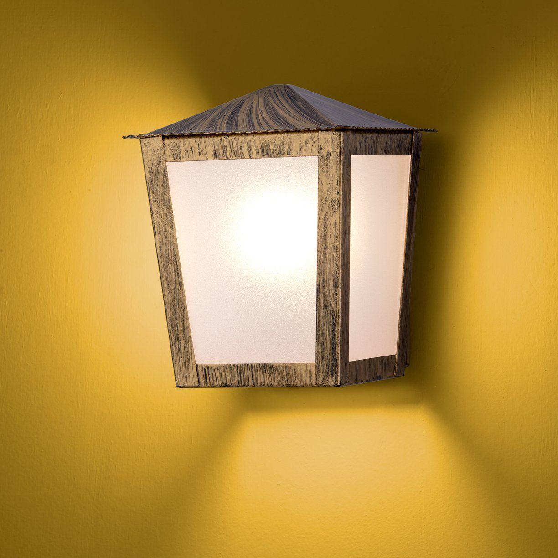 Arandela Colonial Quadrada Meia Face 01 E27 - Ouro Velho