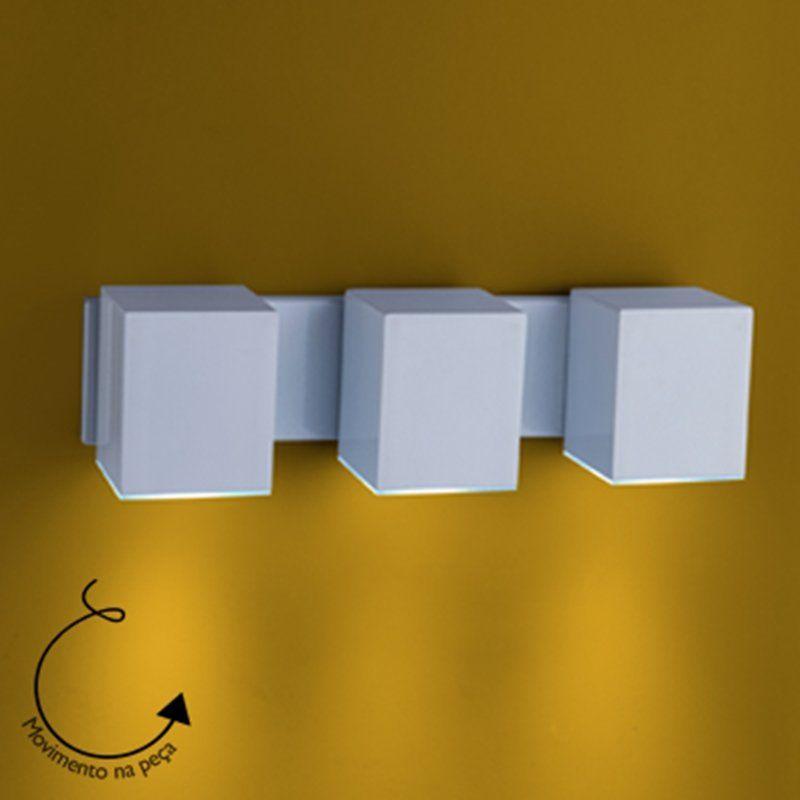 Arandela Cube Articulada 3 GU10 - Branca Microtexturizada Tampa inferior em Policarbonato com Anti UV