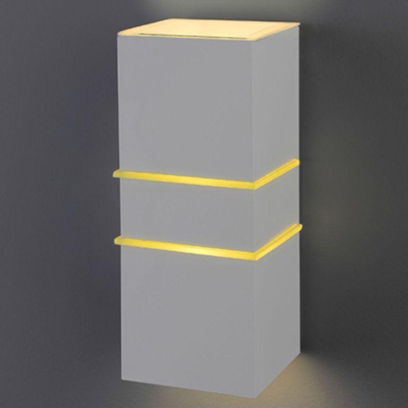 Arandela Flash tubo quadrada 02L com vidro 01 E27 Tampa Policarbonato com AntiUV - Branca Microtexturizada