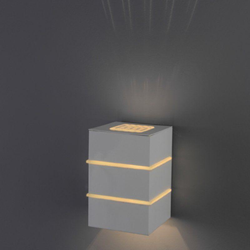 Arandela Flash tubo quadrada 02L com vidro 01 G9 Lente Sol - Branco