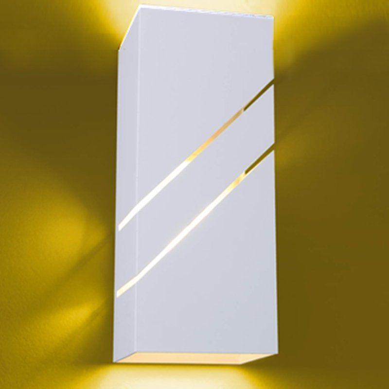 Arandela Flash tubo quadrada 02L Diagonal 01 E27 Tampa Policarbonato com AntiUV - Branca Microtexturizada