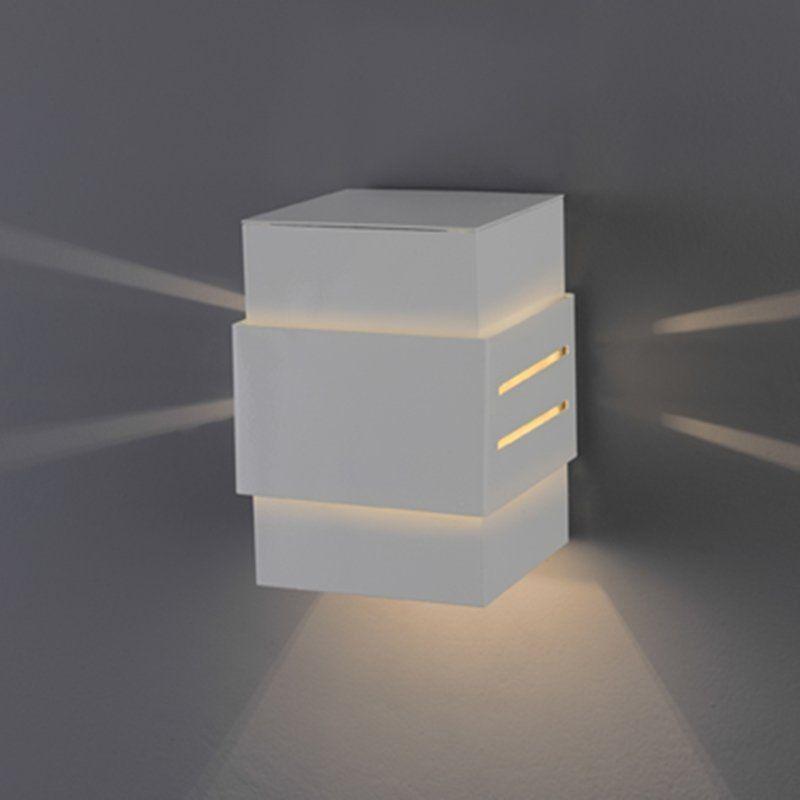 Arandela Flash tubo quadrada Cinta com efeito 01 G9 Tampa Alumínio - Branca Microtexturizada