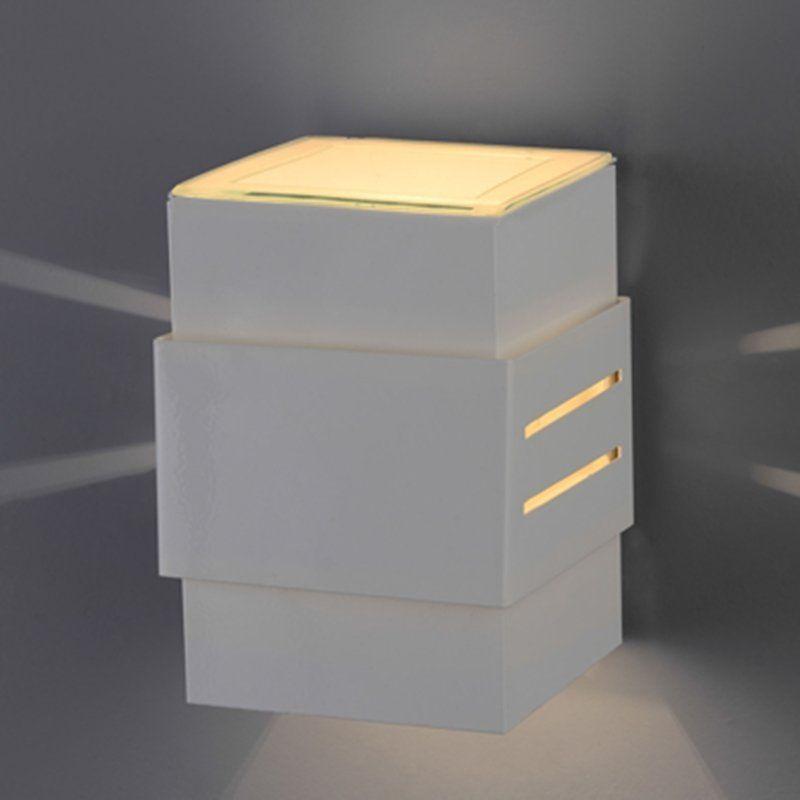 Arandela Flash tubo quadrada Cinta com efeito 01 G9 Tampa Policarbonato com AntiUV - Branca Microtexturizada