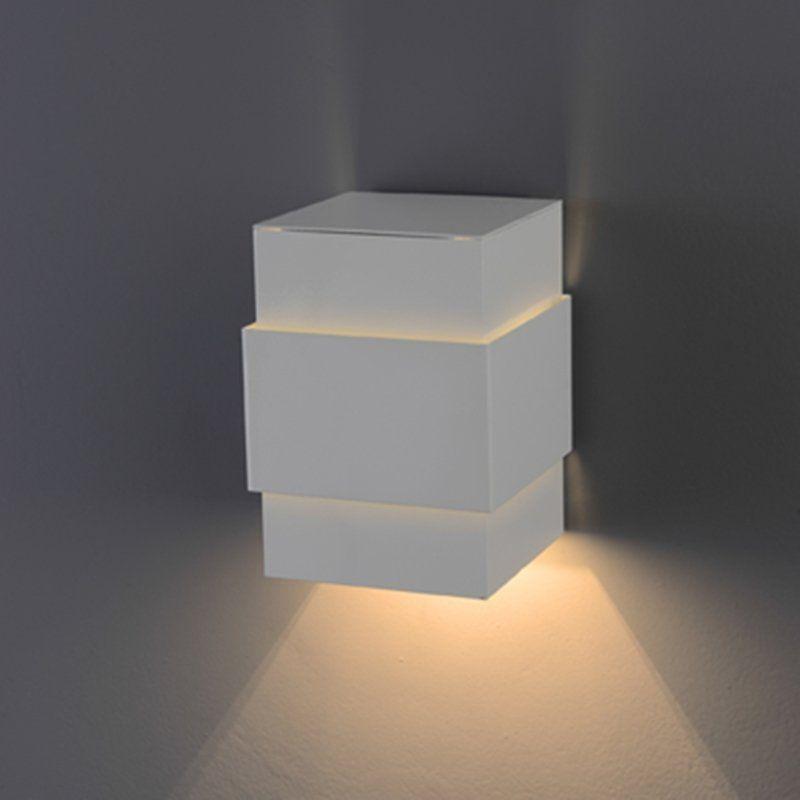 Arandela Flash tubo quadrada Cinta lisa 01 G9 Tampa Alumínio - Branca Microtexturizada
