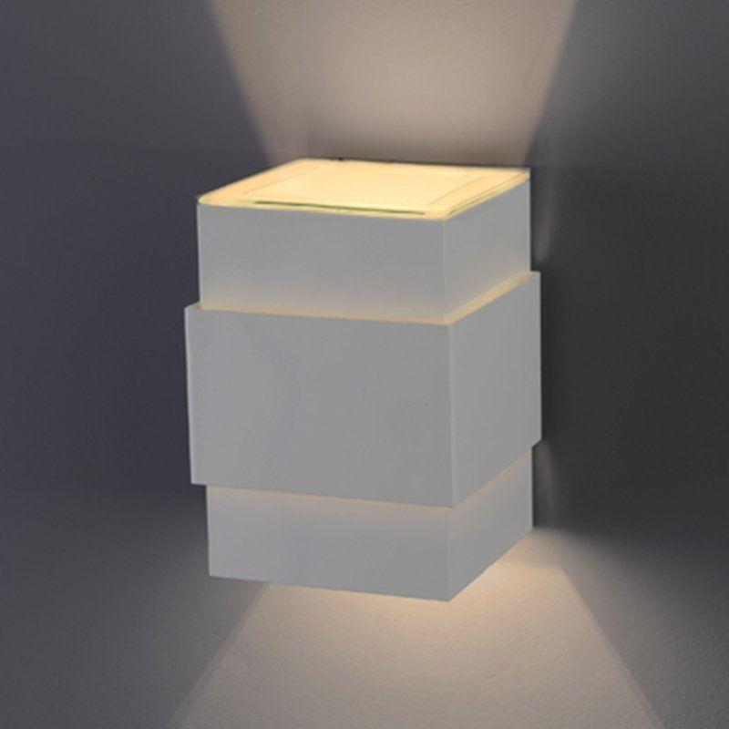 Arandela Flash tubo quadrada Cinta lisa 01 G9 Tampa Policarbonato com AntiUV - Branca Microtexturizada