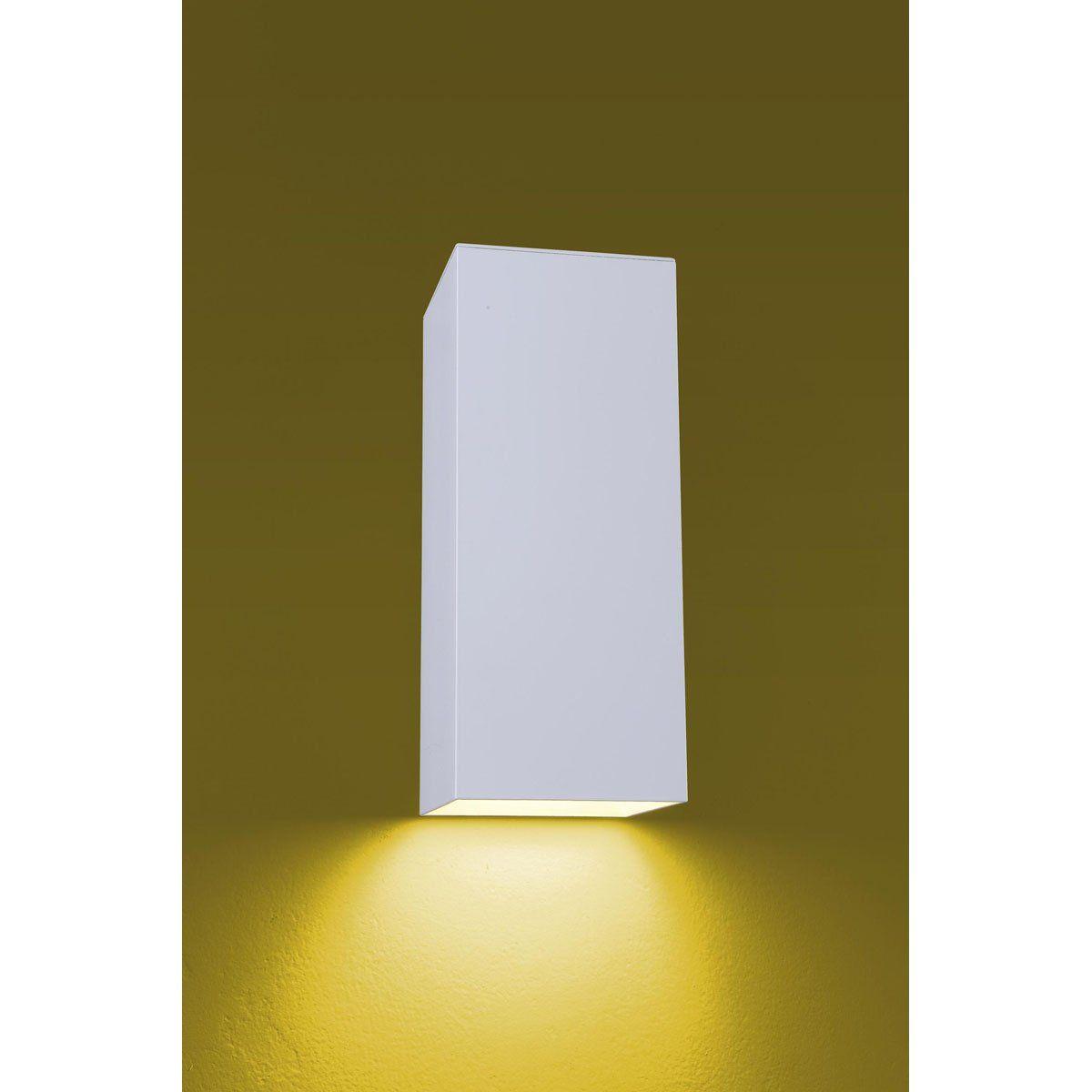 Arandela Flash tubo quadrada lisa 01 E27 Tampa Alumínio - Branco