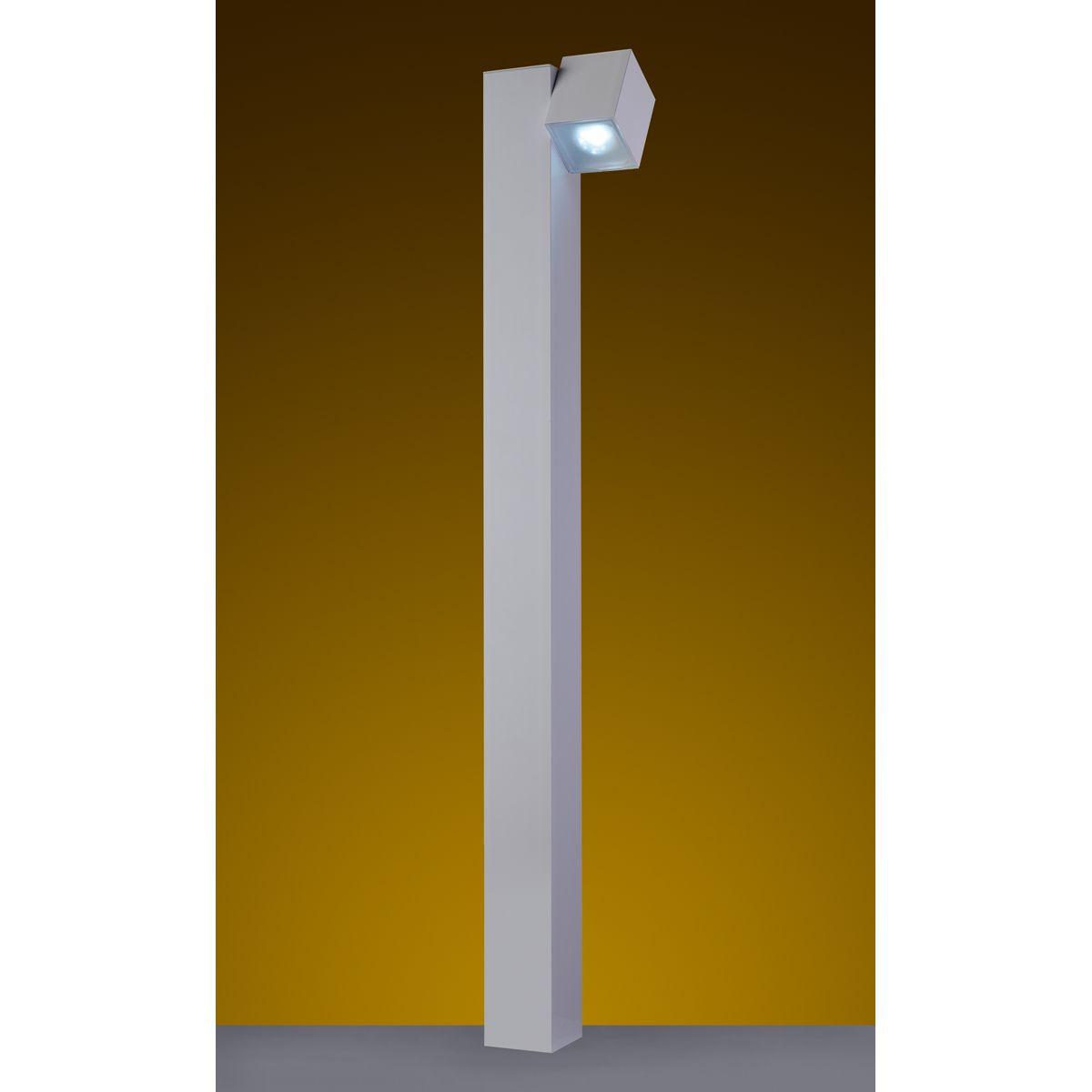 """Balizador Cube Tubo Quadrado 3"""" 01 GU10 100cm Tampa inferior em Policarbonato com AntiUV - Branca Microtexturizada"""
