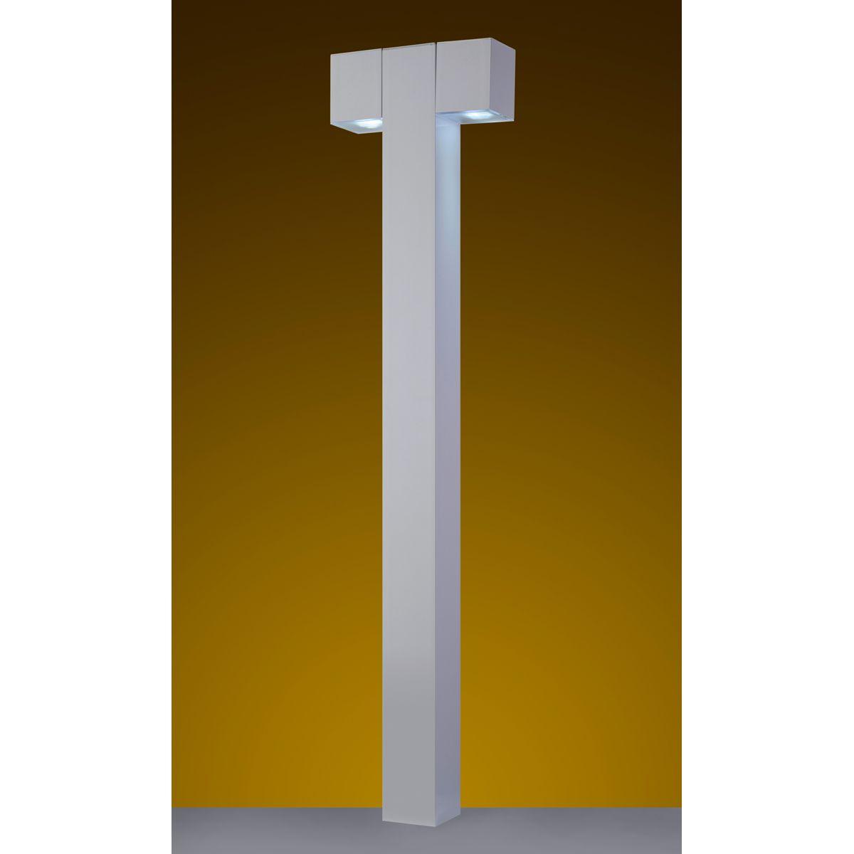 """Balizador Cube Tubo Quadrado 3"""" 02 GU10 100cm Tampa inferior em Policarbonato com AntiUV - Branco"""