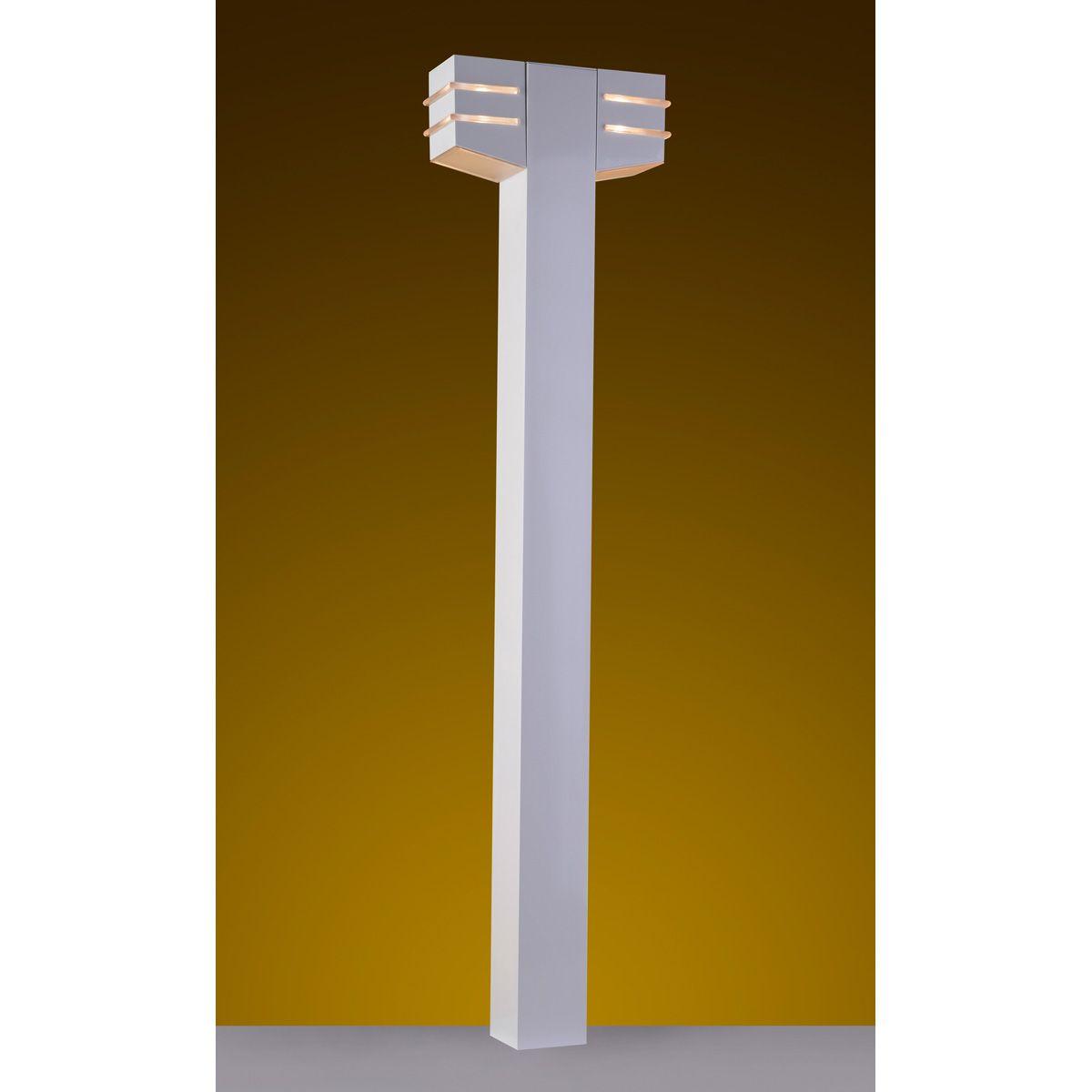 """Balizador Flash Tubo Quadrado 02L 3"""" 02 G9 100cm Tampa inferior Diagonal em Policarbonato com AntiUV - Branco"""