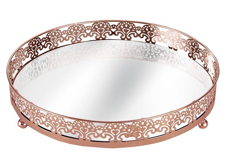 Bandeja Cobre em Metal com Espelho