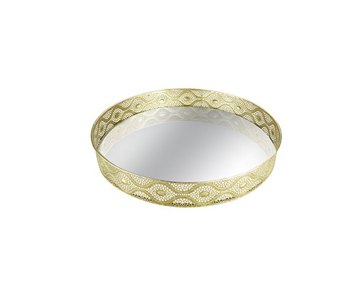 Bandeja Dourada em Meta com Espelho