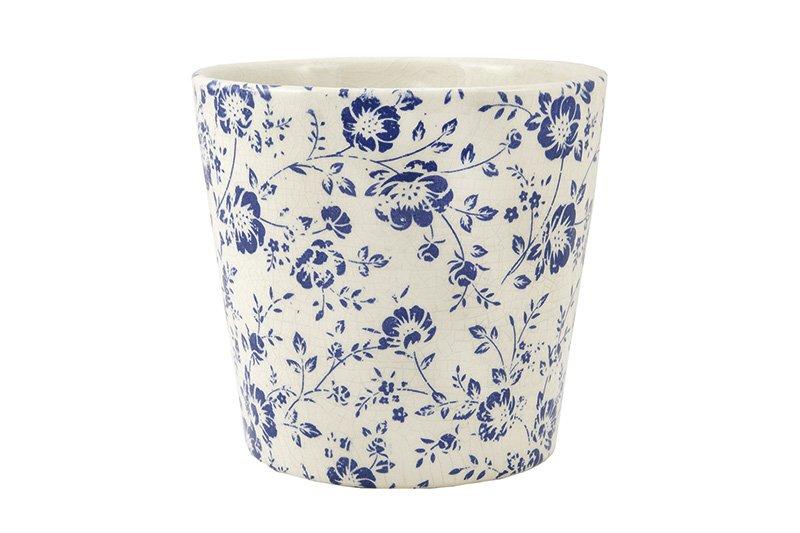 Cachepot Branco e Azul em Cerâmica