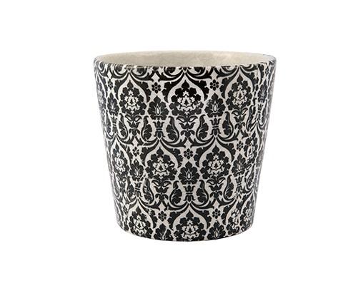 Cachepot Branco e Preto em Cerâmica