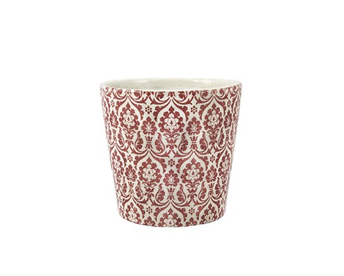 Cachepot Branco Vermelho em Cerâmica