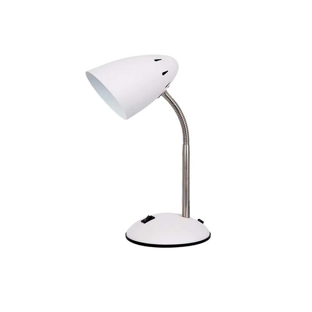 Luminaria De Mesa Metal 1Xe27 40W 30X20X14,5Cm Branco E Cromado