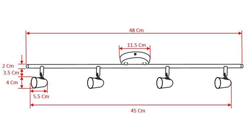 Luminária Trilho Sobrepor Arco New Short 4 Luzes Gu10 Led