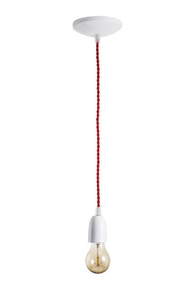 Pendente Branco Alfa Ø 4,5 x 6cm em Alumínio, cabo trançado