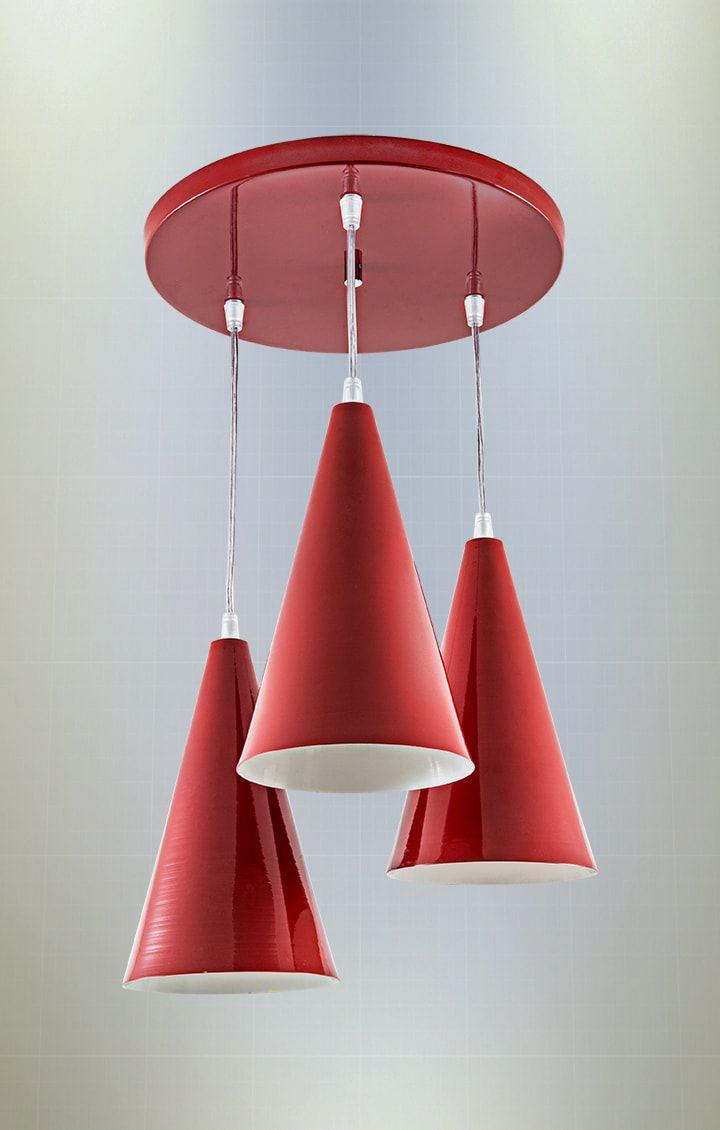 Pendente Bahamas Vermelho com 3 cones 13cm, cabo 1,00m + 1,20m + 1,40m