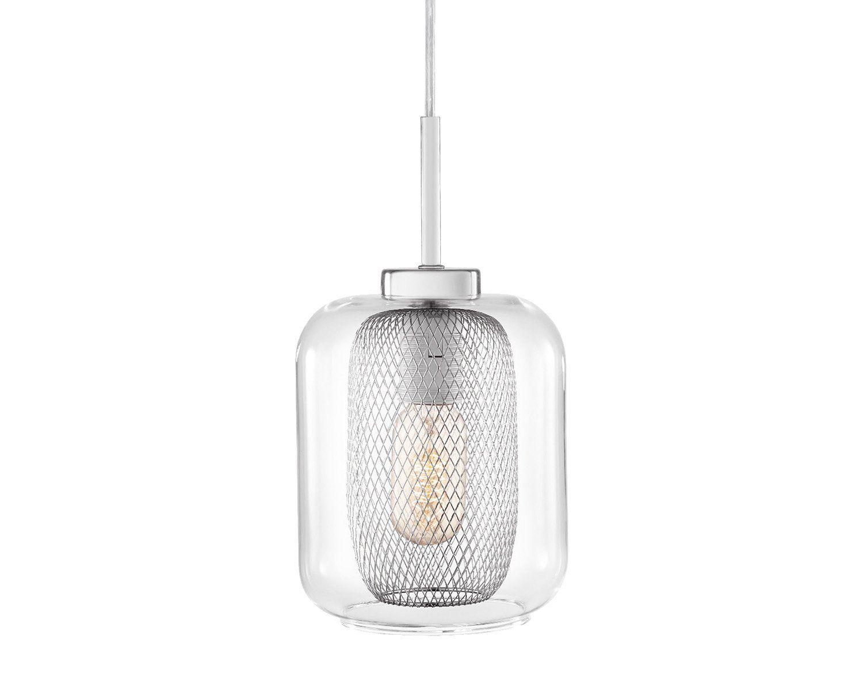 Pendente em Vidro Transparente com Interior em Metal na Cor Cromada