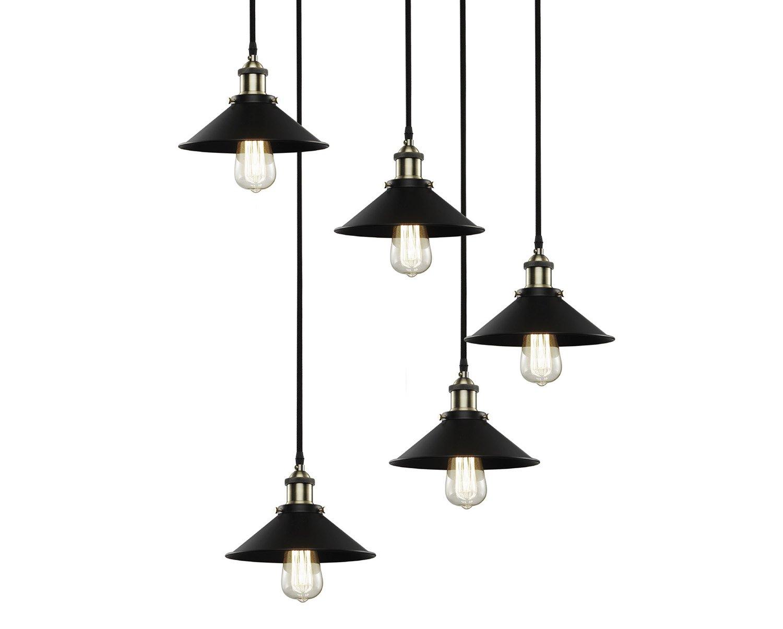 Pendente Industrial Preto - 5 Lâmpadas
