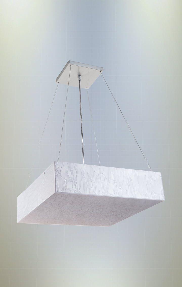 Pendente Madrepérola Quadrado 30cm 2xE27 em Acrílico