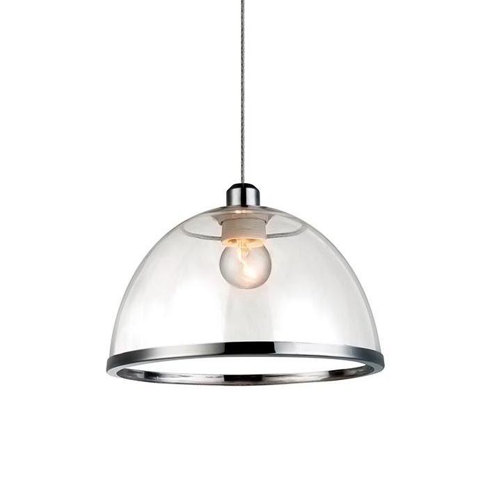 Pendente Metal/Acrilico 1Xe27 40W 23Cm Cromado Transparente E Cromado