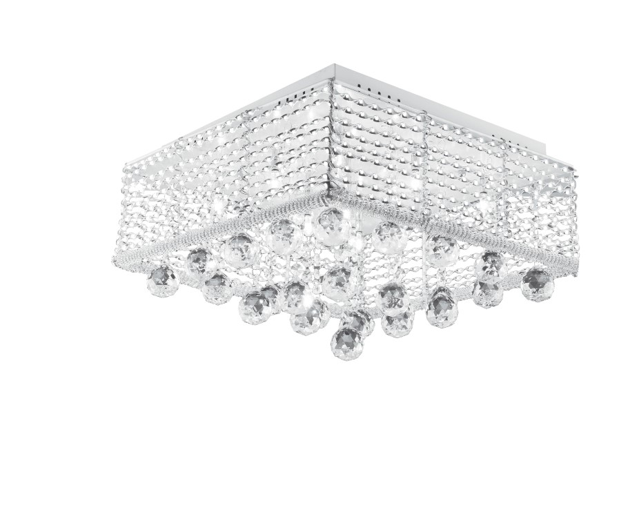 Plafon Quadrado Double Face Cristal 12 Luzes 127V LLUM BRONZEARTE