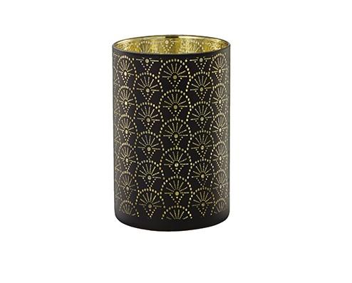 Porta-Velas Preto e Dourado em Vidro