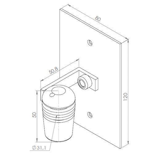 """Spot Com Base Plana Para Caixa 4X2"""" 1 Led Ip66 11 Graus"""