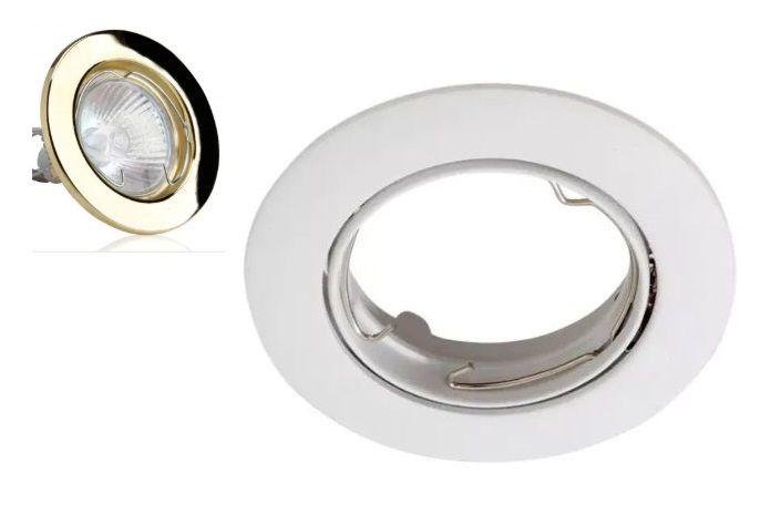 Spot Para Lâmpada Gu10 Para Teto Sanca Gesso Dourado Ou Branco