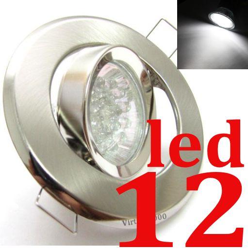 Spot REDONDO PRATA + Lampada 12 Leds BRANCO PURO (tipo Dicroica)