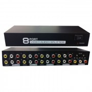Distribuidor RCA Splitter de Video Composto c/ Audio 1 x 8 portas