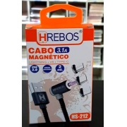 Cabo Magnético 3 Pontas Laterais, 2m (Apple IOS / Type-C / V8 Micro USB) HS-212