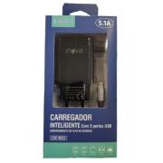 Carregador Rápido Inova 5.1A 3 Entradas USB C/ Cabo V8 Embutido CAR-9002