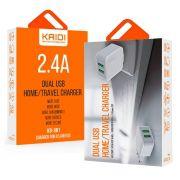 Carregador Tomada Celular 2x USB 2.4A - KAIDI KD301