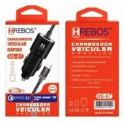 Carregador Turbo Qualcomm 4.0 c/ tipo C HS87 - HREBOS